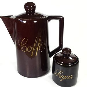 Vintage coffee pot & sugar bowl.